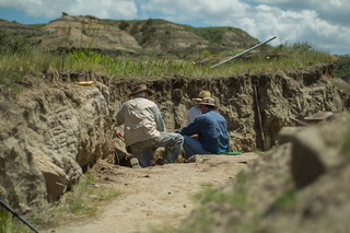 Members of a CRS iDINO excavation teams search for dinosaur specimens in the Hell Creek Formation of eastern Montana.